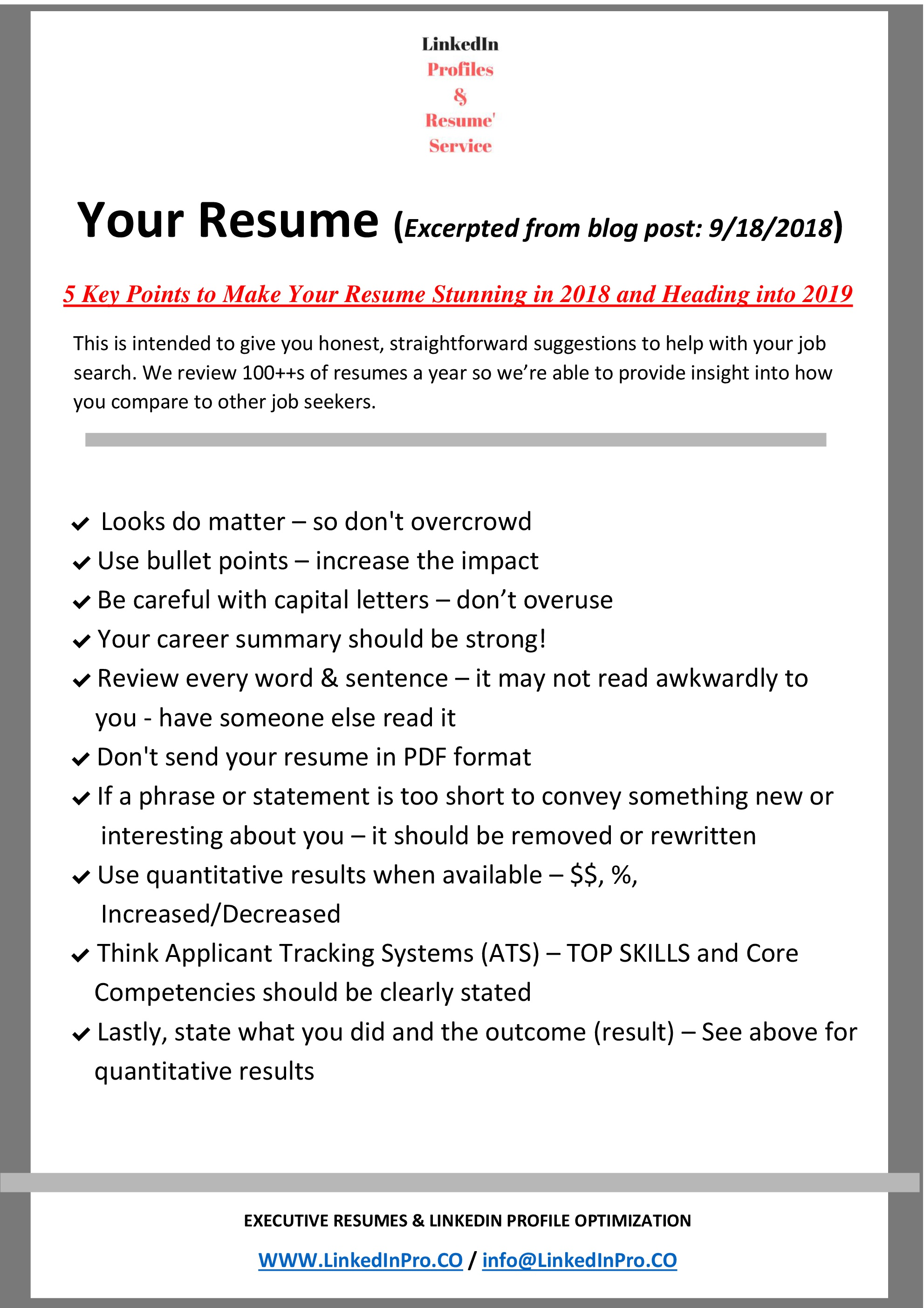 5 Key Points To Make Your Resume Stunning In 2018 And